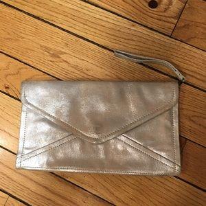 Vintage Gap silver brushed leather clutch bag